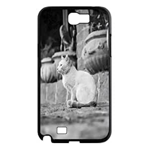 Samsung Galaxy Note 2 Cases White Cat 2, Samsung Galaxy Note 2 Cases White Cat for Girls, [Black]