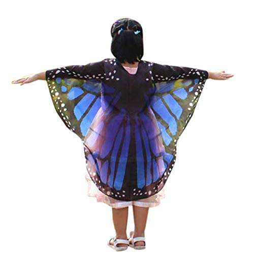 FEITONG Halloween Party Child Kids Boys Girls Butterfly Wings Shawl Pashmina Costume Accessory, 140x100cm(140x100cm,Dark Blue) -
