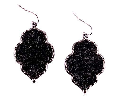 Dangle Style Pendant Necklace - StylesILove Womens Trendy Pave Rhinestone Long Chain Quatrefoil Pendant Necklace Dangle Earrings (Gun Metal Black - Earrings)