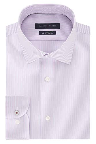 Tommy Hilfiger Men's Dress Shirt Slim Fit Non Iron Stretch Stripe, Orchid, 16