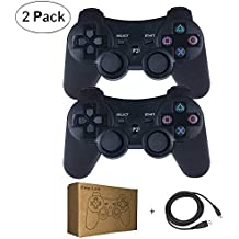 Kepisa Wireless Bluetooth Controller For PS3 Double Shock - Bundled with USB charge cord (Black and Black)