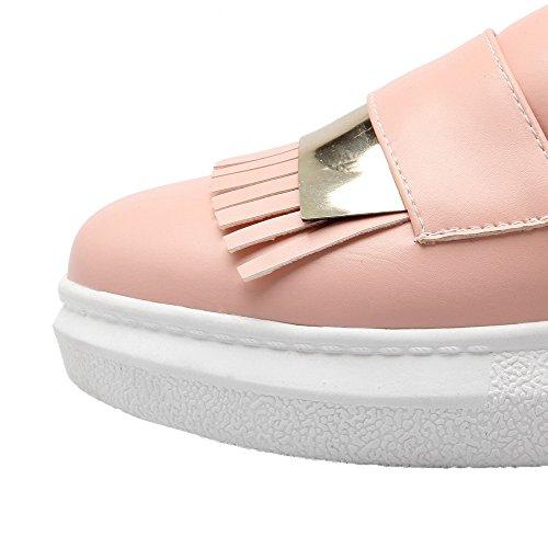 AgooLar Damen Ziehen auf Rund Zehe Niedriger Absatz PU Rein Pumps Schuhe Pink