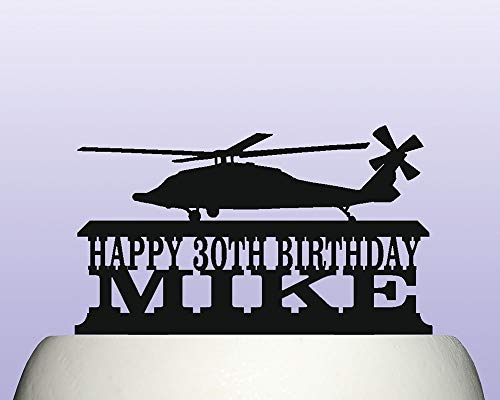 Personalised Acrylic Black Hawk Military Helicopter Birthday Cake Topper for Anniversary Party Decorations Birthdays, Weddings, Themed Parties Cake Decoration In Your Choice of -