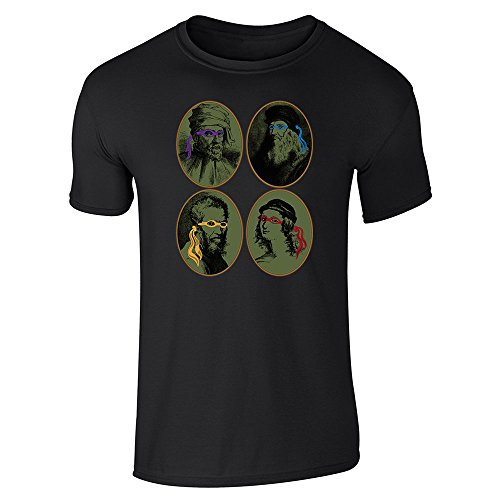 Pop Threads Italian Renaissance Ninja Artists Parody Black XL Short Sleeve T-Shirt ()