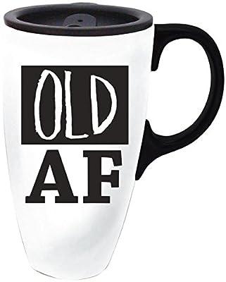 Cypress Home Witty Sayings Ceramic Travel Coffee Mug, 17 ounces