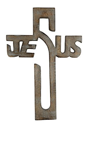 storeindya Wooden Wall Cross Long Hanging French Cross Hand Carved Antique Design Religious Altar Home Living Room Decor Accessory ()