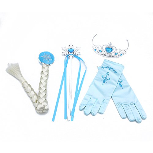 Birthday Present Costume (Amor Elsa Costume Wig Crown/Tiara Snowflake Wand Gloves Set Princess Dress Up Cosplay Accessories Xmas Present)