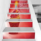 Stair Stickers Wall Stickers,6 PCS Self-adhesive,25th Birthday Decorations,Delicate Blue Dots on a Sweet Cupcake Intimate Celebration,Red Orange Blue,Stair Riser Decal for Living Room, Hall, Kids Room