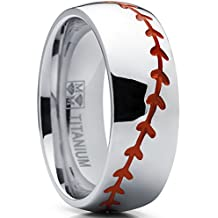 Titanium Sports Baseball Ring Wedding Band with Red Stitching, Comfort Fit, Dome High Polish Finish 8mm Sizes 8 to 13