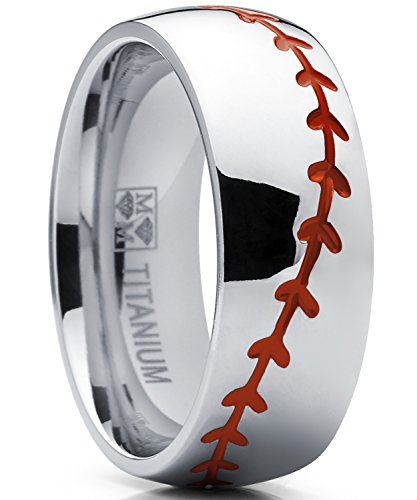 Titanium Sports Baseball Ring Wedding Band with Red Stitching, Comfort Fit, Dome High Polish Finish 8mm 11 (Hand Carved Wedding Band)
