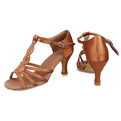 Baile De Satinado De Latino Sandalias Hebilla De 7cmBrown De Mujer Salón Para Zapatos Suela Saco Suave H5RxFFn8