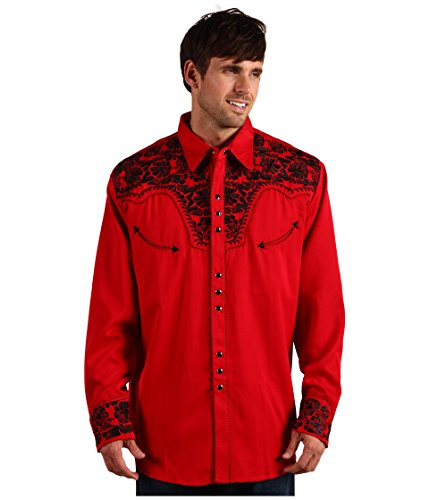 Scully Men's Embroidered Retro Western Shirt Red X-Large (Mens Western Red Shirts)