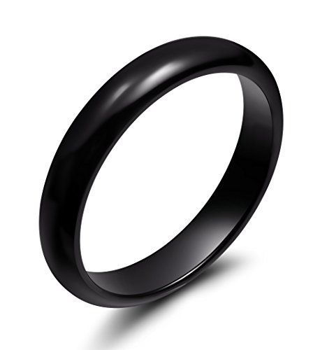 Ceramic Ring (4mm Black Ceramic Rings for Men Women Comfort Fit Engagement Wedding Band (9))