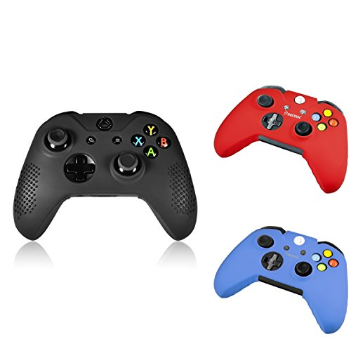 For Xbox One/ Xbox One S Controller Silicone Case, Insten 3-Pack Silicone Case Skin Cover Combo Compatible with Microsoft Xbox One/ Xbox One S / Xbox One X Controller, Black/ Red/ Blue