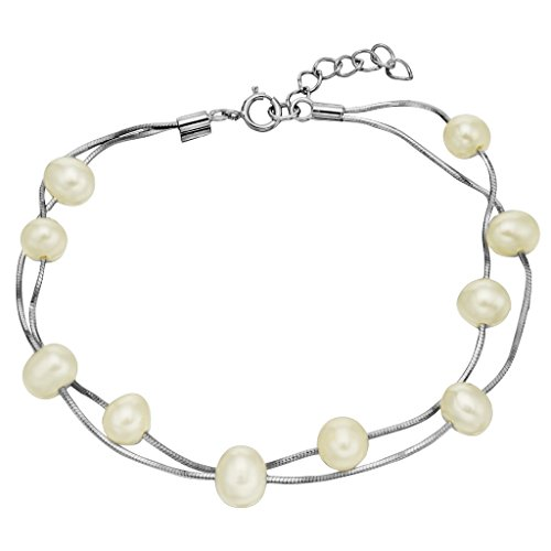 Sterling Tin Cup Silver (EVER FAITH 925 Sterling Silver Tin Cup 6MM Freshwater Cultured Pearl Station Bracelet - Two Layers)