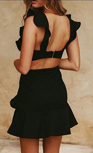 Suncolor8 Womens Backless Ruffle Sleeveless Bodycon Club Party Mini Dress