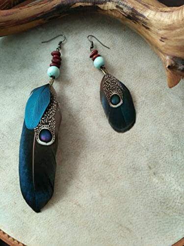 pendientes con plumas naturales de faisan: Amazon.es: Handmade