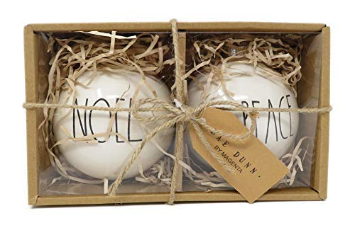 - Rae Dunn by Magenta Set of 2 Noel & Peace Ceramic LL Round Bulb Christmas Tree Ornaments