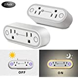 SUPERNIGHT Wifi Smart plug with Dusk to Dawn sensor Light, Upgraded 2019 Alexa Plug, Works With Alexa & Google Home,App and Voice Control Anywhere and Anytime,No Hub Required,Easy Configuration 2 PACK