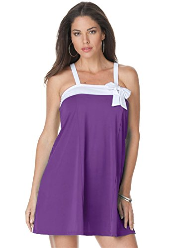 Swim 365 Women's Plus Size Side Bow Swimdress Grape Jam,16 W