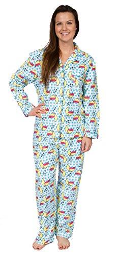 Leisureland Women's Cotton Flannel Pajama Set Sleepy Kitty Cat Blue (Cotton Kitty Collar)