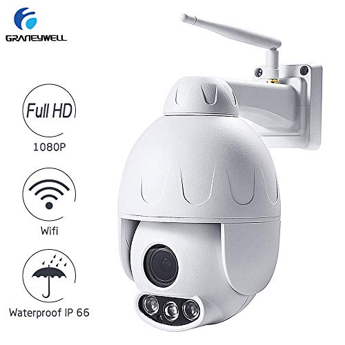 GRANEYWELL Outdoor WiFi Camera PTZ 1080P Waterproof Security Camera Pan TIlt Zoom 5X Zoom,Wireless Surveillance CCTV Dome IP Camera with Motion Sensor Alarm,Two Way -Audio,165fT Night Vison GRANEYWELL