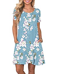 85cd9320b6f Women s Summer Casual T Shirt Dresses Short Sleeve Swing Dress with Pockets