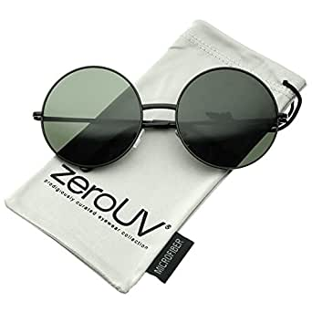 zeroUV - Super Large Oversize Slim Temple Round Sunglasses 61mm (Black / Green)