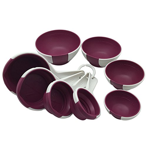 Chef'n SleekStor Pinch And Pour Set - 4 Silicone Pinch Prep Bowls, 4 Silicone Collapsible Measuring Cups - Radicchio (Bowls Silicone Measuring)