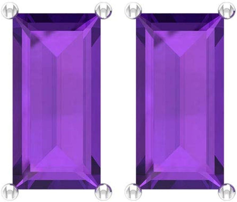 Baguette - Pendientes de amatista (2,16 quilates, certificado SGL, piedra violeta, hechos a medida, hechos a mano, boda, novia, antiguo, vintage, regalo), tornillo hacia atrás
