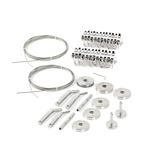 Ikea Wire Curtain - Fasthomegoods Curtain Wire Rod Set Stainless Steel, Multi-Purpose, 33' Wire, 4 Mounting Pieces, 48 Clips, 2 Corner Pieces