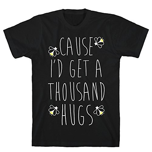 LookHUMAN Cause I'd Get a Thousand Hugs 2X Black Men's Cotton Tee -