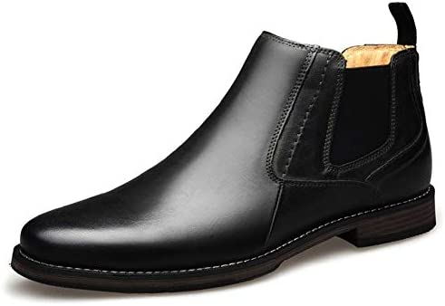 メンズカジュアルシューズチェルシーブーツ足首靴プルレザー滑り止めシームソリッドカラーハイトップとがったゴムバンド 快適な男性のために設計