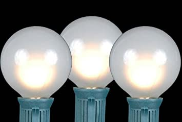 Amazon novelty lights 25 pack g50 outdoor string light globe novelty lights 25 pack g50 outdoor string light globe replacement bulbs frosted white e17 mozeypictures Choice Image
