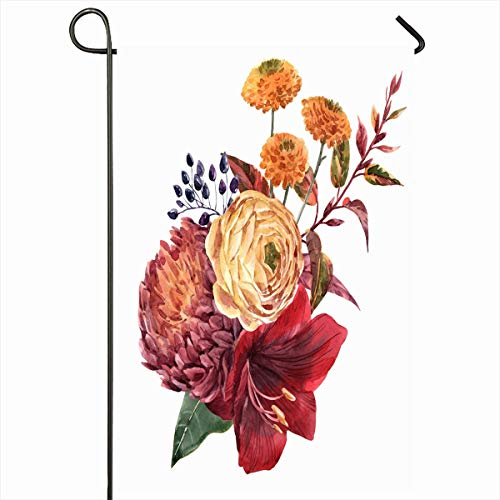 Ahawoso Outdoor Garden Flag 12x18 Inches Peony Yellow Autumn Watercolor Bouquet Red Flower Amaryllis Berries Nature Chrysanthemum Berry Bird Seasonal Double Sided Home Decorative House Yard Sign