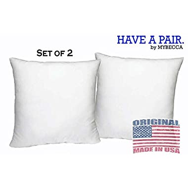 [SET OF 2] 18 W X 18 L Mybecca Hypoallergenic Pillow Insert White Polyester, Made in USA