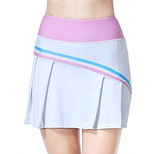 Summer Womens Sports Skirts Athletic Casual Skorts Quick Dry Shorts Tennis Perform with Pockets Pink L