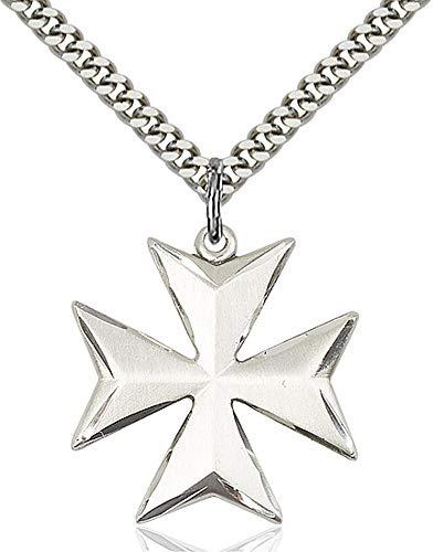 Sterling Maltese Cross - Sterling Silver Maltese Cross Pendant, Light Rhodium Heavy Curb Chain Patron Saint 1 X 7/8
