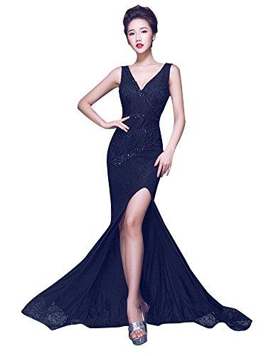 Beauty Kleid V Emily Ansatz Bodycon seitliches Rückenfrei Spitze Abend Schwarz Offenes SSwar