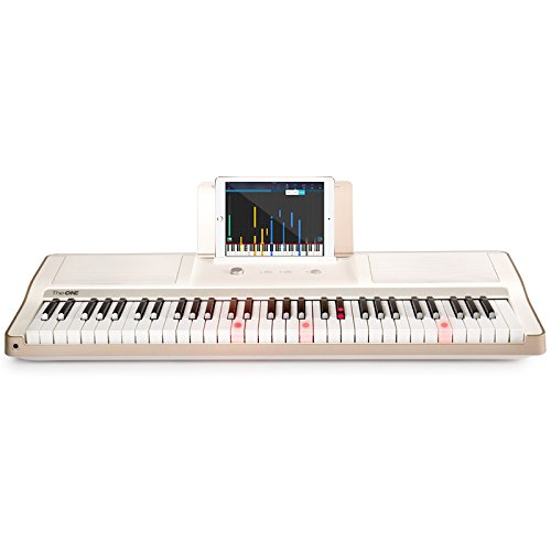 The ONE Smart Piano 61-Key Portable Light Keyboard, USB MIDI Electronic Keyboard Piano – White/Gold