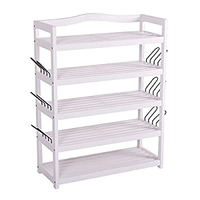White 5-Tier Wooden Shoe Rack Shelf Storage Organizer Entryway Home Furni By Allgoodsdelight365