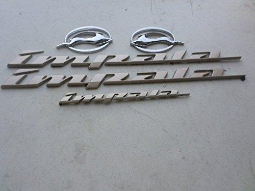 (00-04 Chevy Impala Side Door Beige Logo 10289787 Leaping Deer 10424490 Emblem 10424491 Nameplate Decorative Decal Set)
