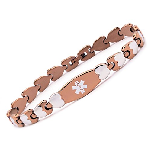 Fashion Brown Double Heart Medical Alert id bracelet for (Double Heart Tag Bracelet)