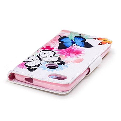 conception Huawei cas butterflies protection P9 Hozor Two avec cuir aérosol fermeture portefeuille en pour avec Flip Lite carte magnétique en support Mini étui de PU fente d'impression peint RCpXdqd