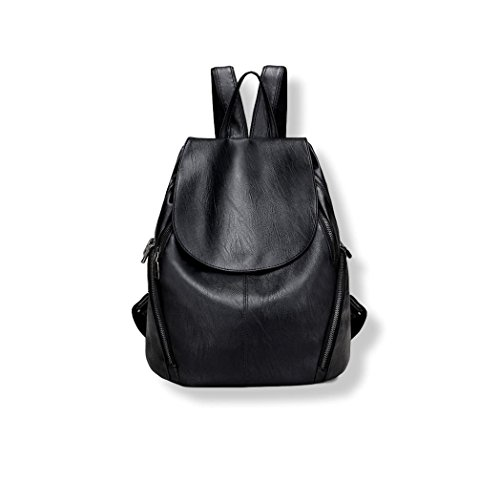 Women Shoulder Backpack Purse in Black Leather Bag