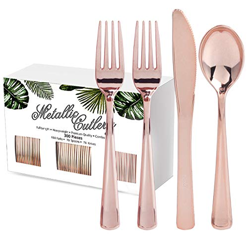 NERVURE 300 Piece Rose Gold Plastic Silverware Set, Disposable Rose Gold Cutlery, Heavyweight Gold Cutlery 150 Forks, 75 Knives, 75 Spoons. Perfect for Parties, Weddings & Catering Events (Rose Gold)