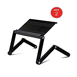 Furinno Adjustable Vented Laptop Table Laptop Computer Desk Portable Bed Tray Book Stand Multifuctional & Ergonomics Design Dual Layer Tabletop Up To 17 2 Pack