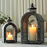 JHY DESIGN Set of 2 Antique Grey Decorative Lanterns Metal Candle Lanterns for Indoor Outdoor Events Parities and…