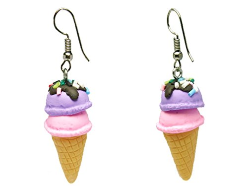 CHADADA Jewelry Cute Handmade Fimo Ice Cream Dangle Earrings (Violet, Pink), EH56