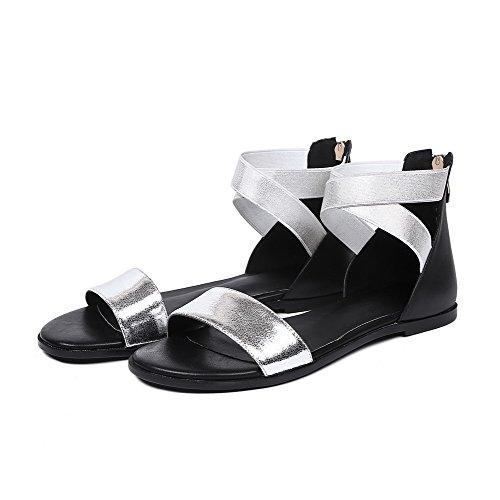 AllhqFashion Toe Low Sandals Silver Cow Zipper Leather Womens Solid heels Open PqnArgxP